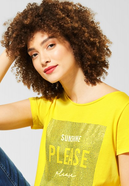 Street One - T-Shirt mit Strasssteinen in Shiny Yellow