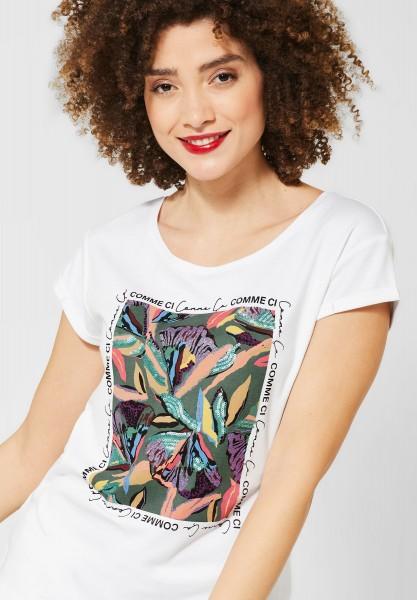 Street One - T-Shirt mit Blumenaufdruck in White