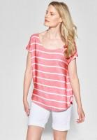 CECIL - Melange Streifen Shirt in Neo Coralline Red