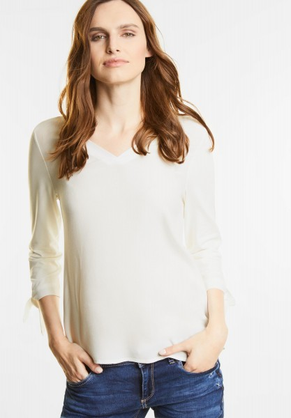 Street One - V-Neck Shirt mit Schleifen in Off White