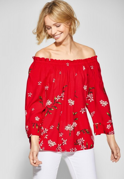 Street One - Blumenprint Bluse Odetta in Vivid Red