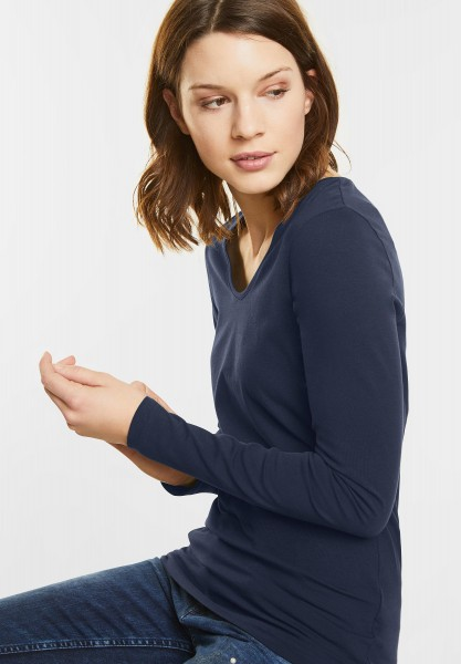 Street One - Organic Langarmshirt Uta in Night Blue