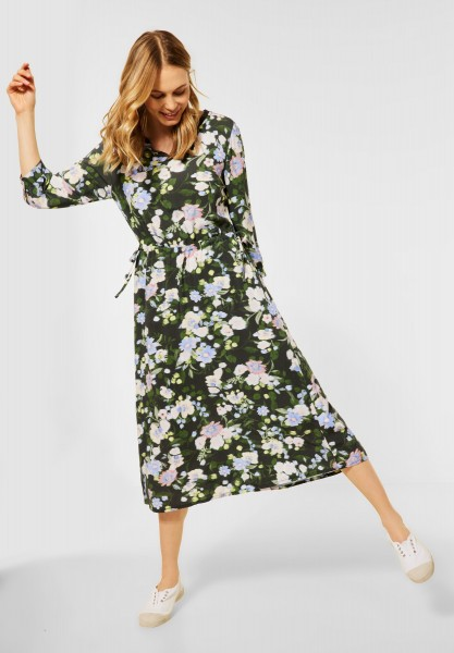CECIL - Midi Kleid mit Blumen Print in Utility Olive