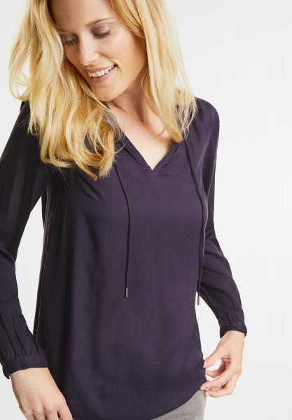 CECIL - Detailreiche Uni Bluse in Dark Purple
