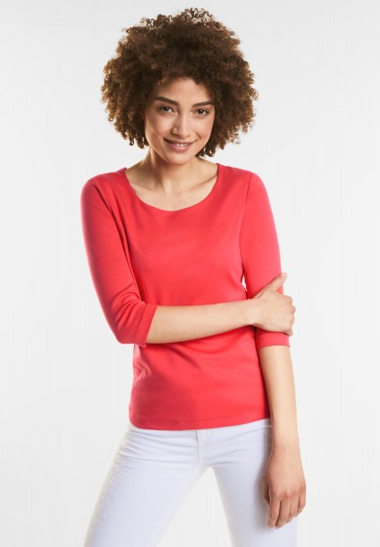 Street One Schmales Basic Shirt Pania in Hibiscus Red