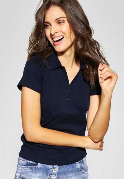 CECIL - Polo-Shirt Nele in Deep Blue