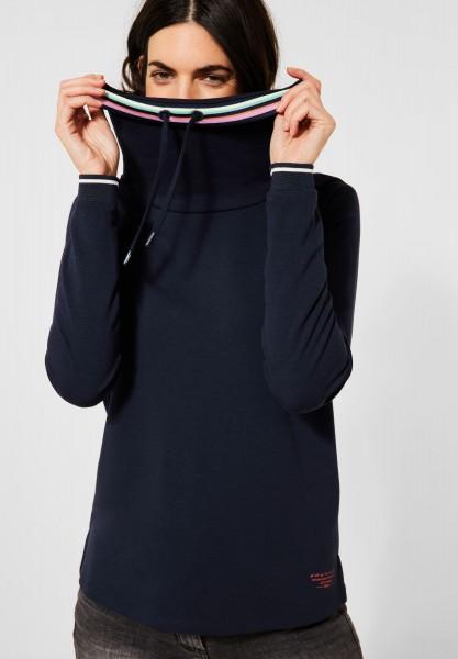 CECIL - Shirt mit großem Kragen in Deep Blue