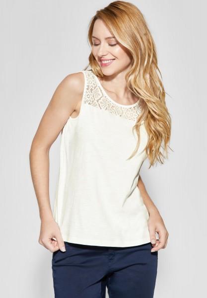 Street One - Ärmelloses Shirt mit Spitze in Off White