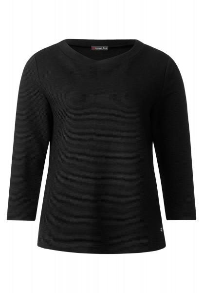 Street One - 3/4-Arm Rippshirt Melli in Black