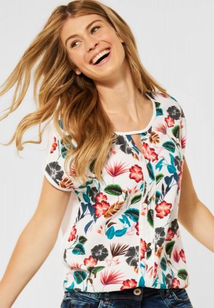 CECIL - T-Shirt mit Blumen Print in Pure Off White