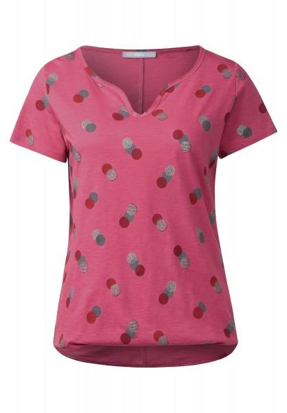 CECIL - Shirt mit Punkte-Print in Caribbean Pink