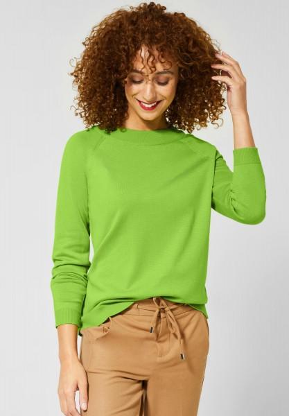 Street One - Unifarbener Pullover Gundi in Flash Lime