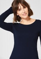 CECIL - Basic Langarmshirt Pia in Deep Blue