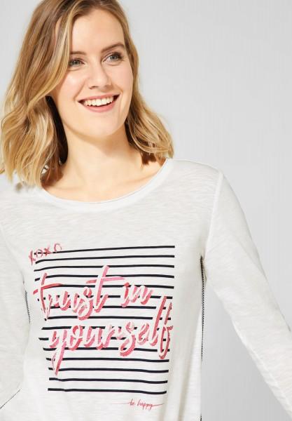 CECIL - Langarmshirt mit Schrift in Pure Off White