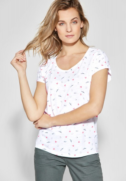 CECIL - Symbol-Print Shirt in White