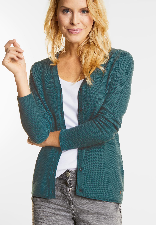 CECIL Basic V Neck Cardigan Felia in Emerald Green