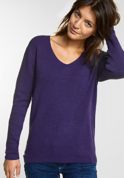 Street One Cosy V-Neck Pullover in Midnight Purple