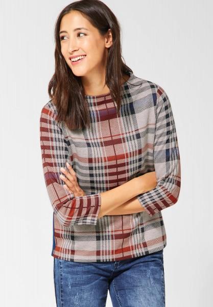 Street One - Pullover mit Karos Krisi in Bisquit Melange