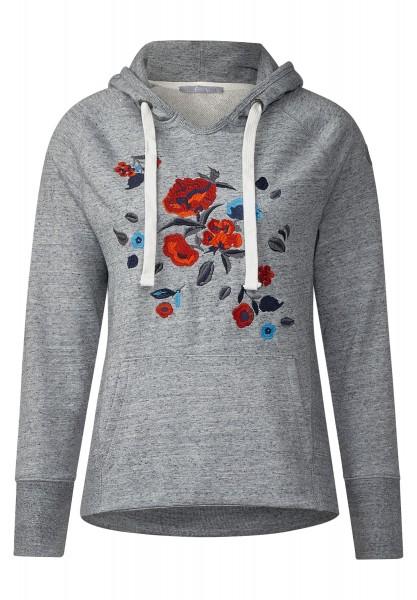 CECIL - Besticktes Hoody Sweatshirt in Grey Melange