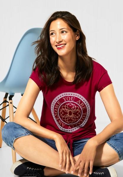 Street One - Printshirt mit Knoten-Detail in Sweet Wine