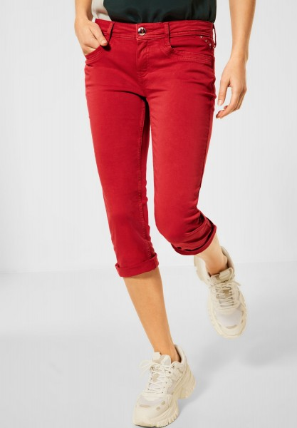 Street One - Casual Fit Denim in 3/4 in Spice Red Soft Wash