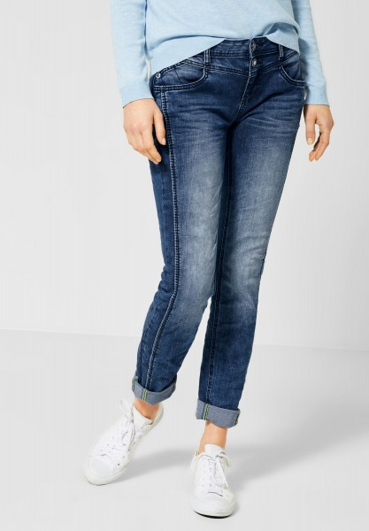 Street One - Casual Fit Denim Jane in Mid Blue Random Bleached