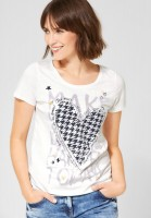 CECIL - T-Shirt mit Frontprint in Pure Off White