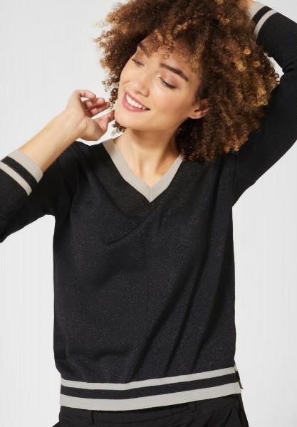 Street One - Glitzernder Pullover in Black