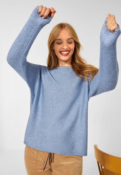 Street One - Pullover mit Dolman Ärmeln in Seaside Blue Melange