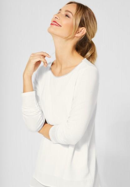 Street One - Shirt mit Chiffon in Off White