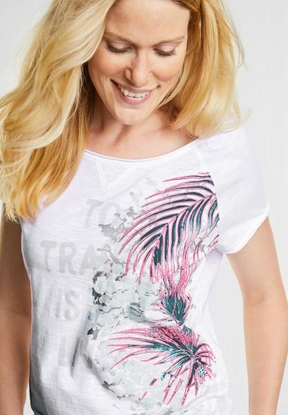 CECIL - Shirt mit Neon Palmwedel in White