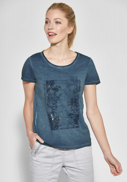 CECIL - Grafik-Print Shirt in Deep Blue