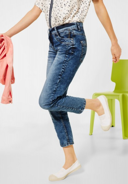 CECIL - Loose Fit Denim in 7/8-Länge in Mid Blue Used Wash