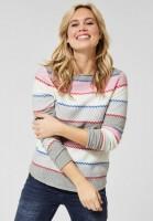 CECIL - Pullover mit bunten Streifen in Mineral Grey Melange