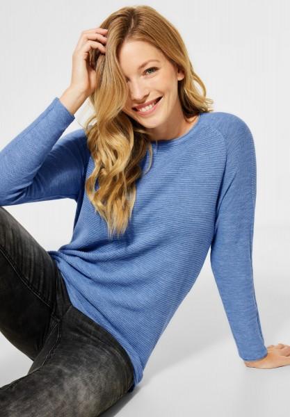 CECIL - Ripp-Pullover in Melange in Light Blue Heather Melange