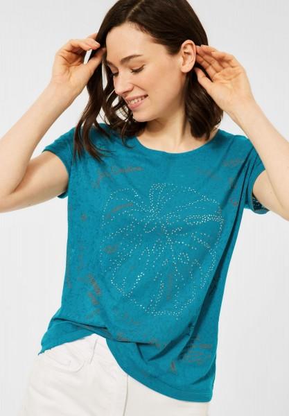 CECIL - T-Shirt mit Burnout-Optik in Burn Out Lagoon Blue