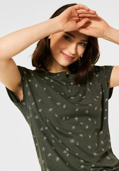 CECIL - T-Shirt mit Minimal Print in Utility Olive
