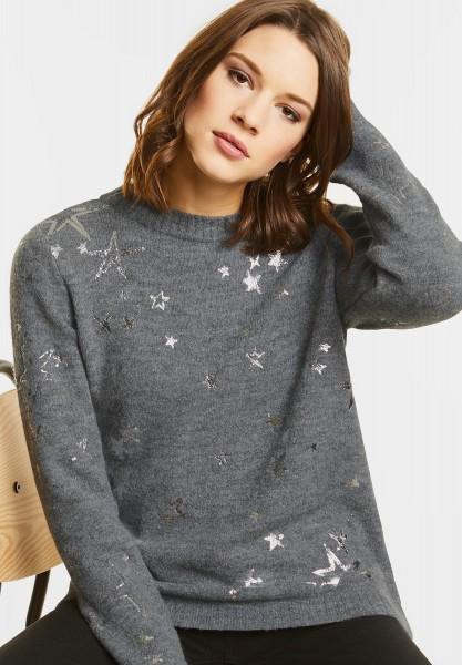Street One - Kuscheliger Sternen Pullover in Frost Grey Melange