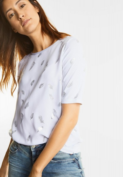 Street One - Shirt mit Feder-Folienprint in White