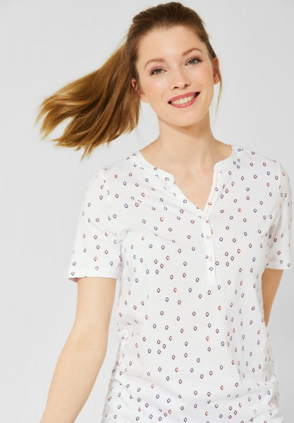 CECIL - Shirt mit Minimal Muster in Pure Off White