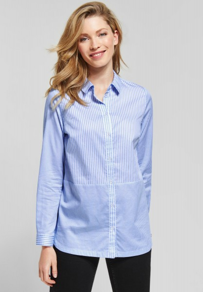 CECIL - Patchwork Streifen Bluse in Cornflower Blue