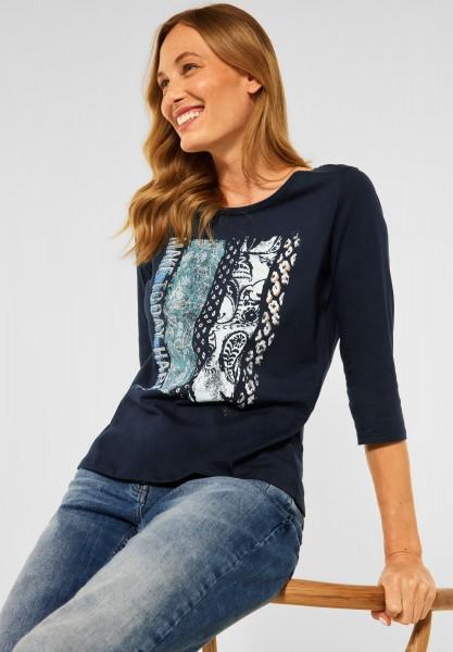 CECIL - T-Shirt mit Fotoprint in Deep Blue