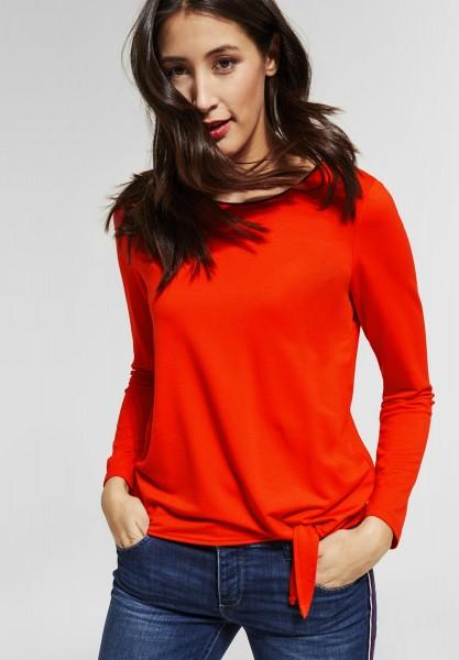 Street One - Shirt in Unifarben in Hot Orange