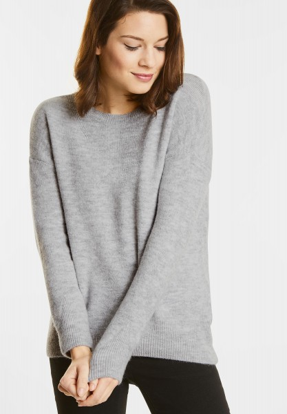 Street One  - Cosy Rundhals Pullover in Cyber Grey Melange