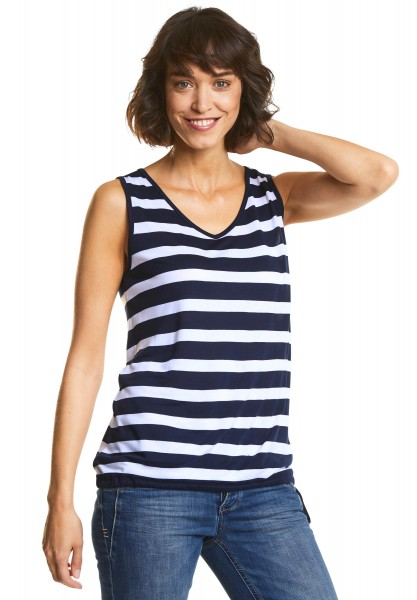 Street One - Streifen Top Gilla in Deep Blue
