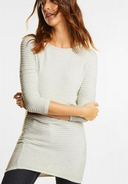 Street One - Geripptes Pullover Kleid in Shell White Melange