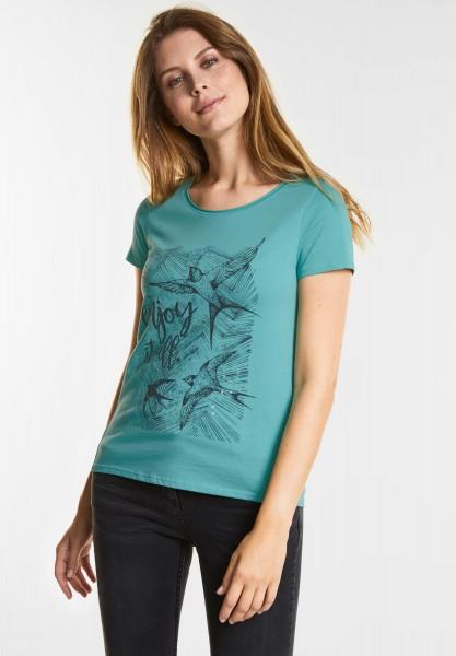CECIL - Schimmerndes Wording-Shirt in Gingermint Green