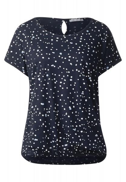 CECIL - Shirt mit Punkteprint Stine in Deep Blue