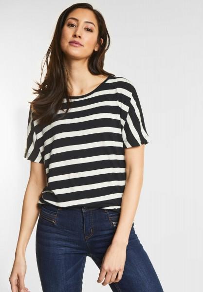 Street One - Weiches Streifen-Shirt Gitta in Black