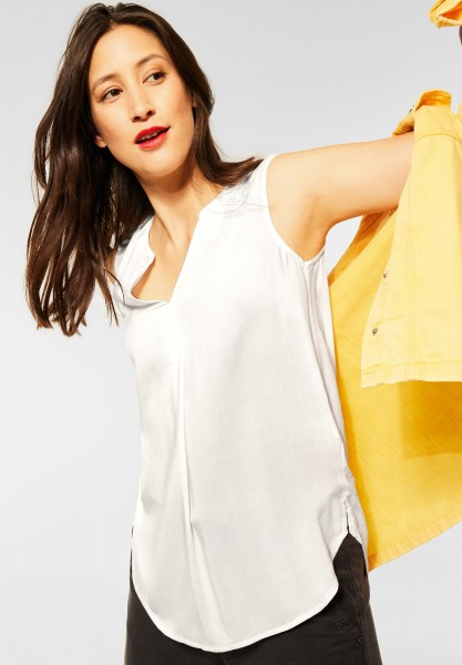 Street One - Langes Blusentop in Unifarbe in Off White